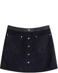 Minifalda de ante azul marino