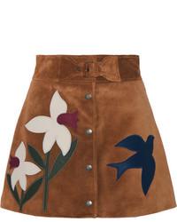 Minifalda de ante marrón