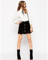 Minifalda de ante negra de Asos