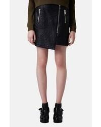 Minifalda de cuero acolchada negra
