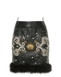 Minifalda de cuero con adornos negra de Fausto Puglisi