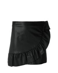 Minifalda de cuero con volante negra de Simonetta Ravizza
