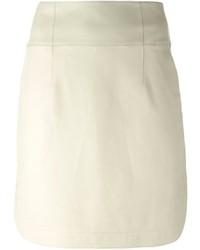 Minifalda de Cuero Beige de Jil Sander Navy