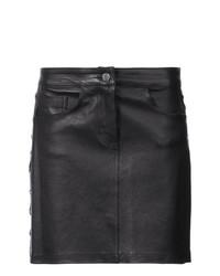 Minifalda de Cuero Negra de Amiri