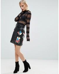 Minifalda de Cuero Negra de Asos