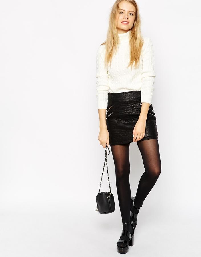 bf1bd16b6 €58, Minifalda de cuero negra de Asos