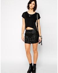 Minifalda de cuero negra de Rock & Religion