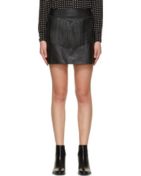 Minifalda de cuero сon flecos negra de Saint Laurent