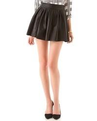 Minifalda de Cuero Plisada Negra de Alice + Olivia