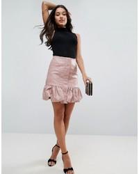 Minifalda de Cuero Rosada de Asos