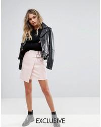 Minifalda de Cuero Rosada de Missguided