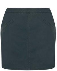 Minifalda de Cuero Verde Oscuro