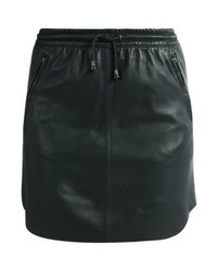 Minifalda de Cuero Verde Oscuro de Ibana