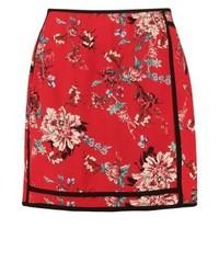 Minifalda de Flores Roja de River Island
