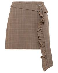 Minifalda de lana a cuadros marrón