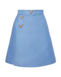 Minifalda de lana celeste