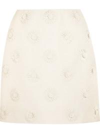 Minifalda de lana con print de flores blanca de Valentino