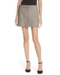 Minifalda de lana de tartán gris