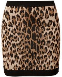 Minifalda de leopardo marrón claro