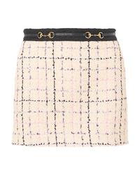 Minifalda de tweed en beige