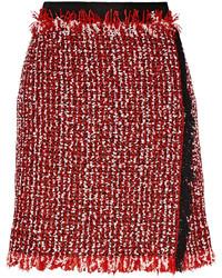 Minifalda de tweed roja