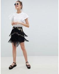 Minifalda сon flecos negra de ASOS DESIGN