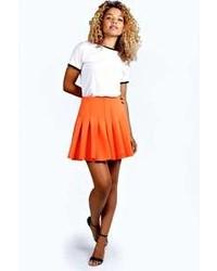 Minifalda plisada naranja