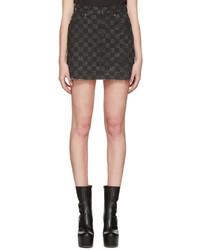 Minifalda vaquera a cuadros en gris oscuro de Marc Jacobs