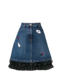 Minifalda vaquera bordada azul de Vivetta