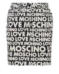 Minifalda vaquera estampada negra de Moschino
