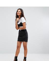 Minifalda vaquera negra de Missguided
