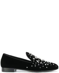 Mocasín con adornos negro de Giuseppe Zanotti Design