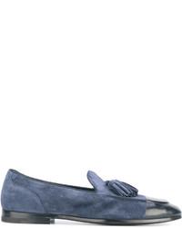 Mocasín con borlas de ante azul de Alberto Fasciani