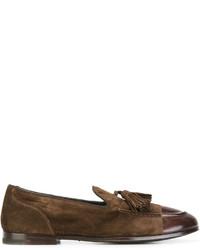 Mocasín con borlas de cuero en marrón oscuro de Alberto Fasciani