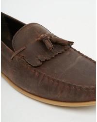 Mocasín con borlas de cuero en marrón oscuro de Asos