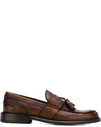 Mocasín con borlas de cuero en marrón oscuro de Canali