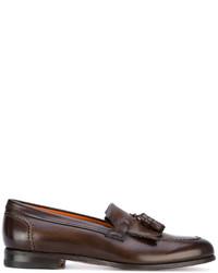 Mocasín con borlas de cuero en marrón oscuro de Santoni