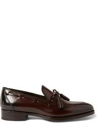 Mocasín con borlas de cuero en marrón oscuro de Tom Ford