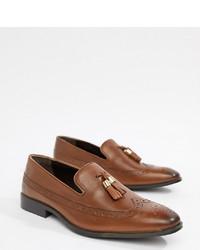Mocasín con borlas de cuero marrón de ASOS DESIGN