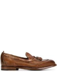 Mocasín con borlas de cuero marrón de Officine Creative