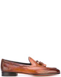 Mocasín con borlas de cuero marrón de Santoni