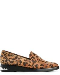 Mocasín con plataforma de ante de leopardo marrón