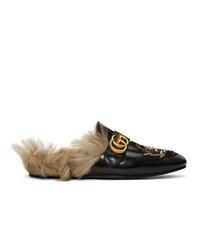 Mocasín de cuero bordado negro de Gucci
