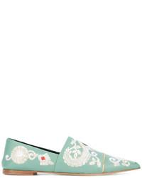 Mocasín de cuero bordados en verde menta de Etro