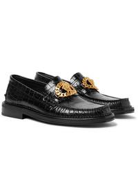 Mocasín de cuero con adornos negro de Versace