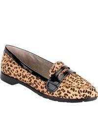 Mocasín de cuero de leopardo marrón claro