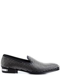 Mocasín de cuero negro de Philipp Plein