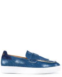 Mocasín de cuero сon flecos azul de MSGM