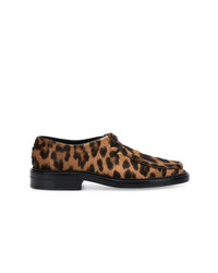 Mocasín de leopardo marrón de Saint Laurent