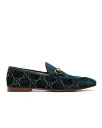 Mocasín de terciopelo estampado azul marino de Gucci
